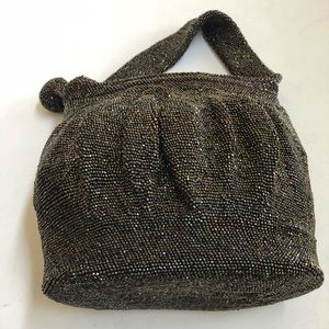 Vintage- handmade brown sequin purse